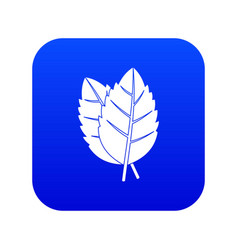 two basil leaves icon digital blue vector image