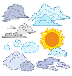 Various clouds and sun vector