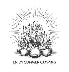 vintage camping campfire label vector image