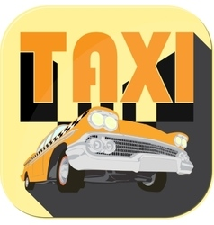Vintage taxi car cartoon sketch icons vector image