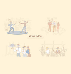 virtual reality in daily life man in vr glasses vector image