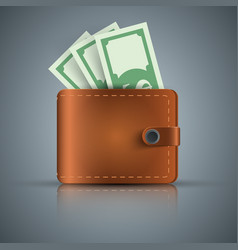Wallet dollar money - realistic icon vector