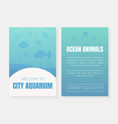 Welcome to city aquarium card template ocean vector