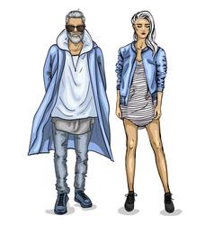Woman and man vector
