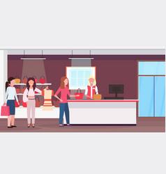 Women customers standing line queue to cash desk vector