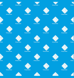 young cheese pattern seamless blue vector image