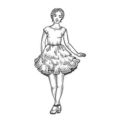Young woman in dress engraving vector