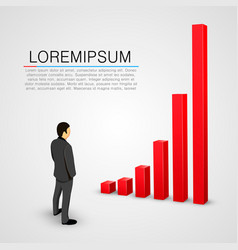 businessman look at growing chart vector image vector image