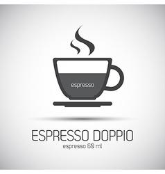 Cup of espresso doppio simple icon vector image vector image