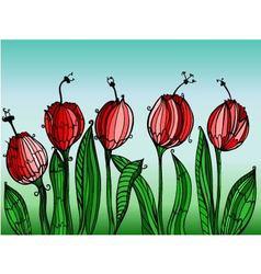 hand drawn tulips vector image