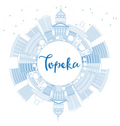 outline topeka skyline with blue buildings and vector image vector image