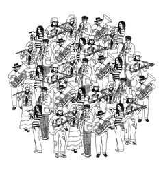 Big group musicians band orchestra monochrome vector image vector image
