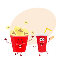 cinema popcorn and soda water characters with vector image