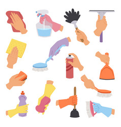 collection with cleaning tools in hand flat vector image vector image
