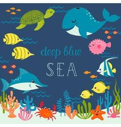 Cute deep blue sea vector image vector image