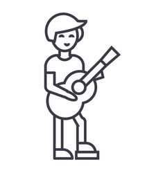 guitar playerflamenco line icon sign vector image vector image