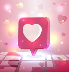 Liked romantic place pin icon over city block map vector image vector image