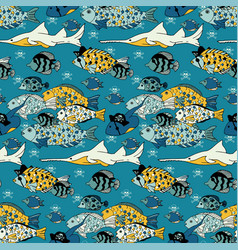 underwater sea life seamless pattern vector image