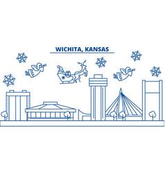Usa kansas wichita winter city skyline merry vector