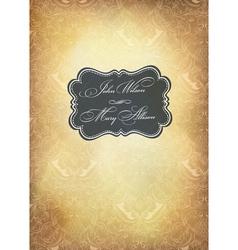 vintage wedding vertical format card vector image