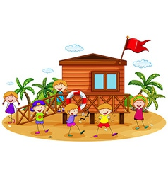 Children and hut vector image vector image