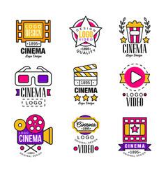 cinema since 1895 logo design set video symbols vector image vector image
