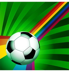 Football over a curved rainbow on green background vector image vector image