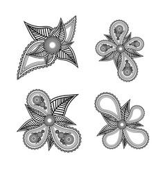 set of ornate black and white floral design vector image