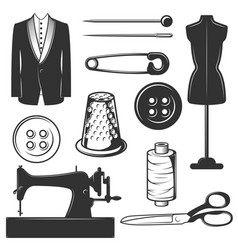 vintage tailor icons symbols set vector image