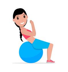 cartoon girl doing exercises fitness ball vector image vector image