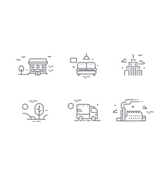 Different buildings icon set for real estate vector image vector image