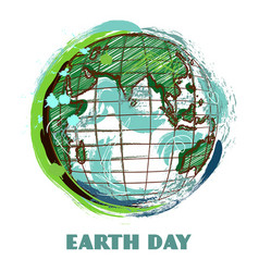 earth day poster with earth globe vector image