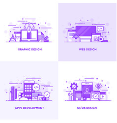 Flat line purple designed concepts vector