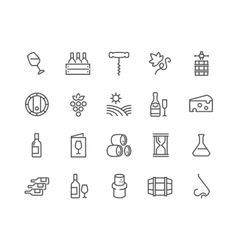 Line Wine Icons vector image