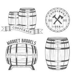 set and logos cooperage workshops vector image vector image