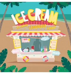 Stall selling ice creams by the sea vector image vector image
