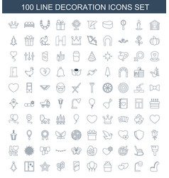 100 decoration icons vector