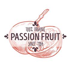 100 percent organic passion fruit label vector image
