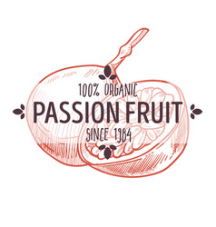 100 percent organic passion fruit label with vector image