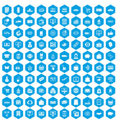 100 shopping icons set blue vector image