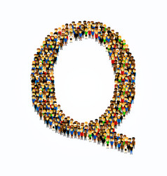 a group of people in english alphabet letter q vector image