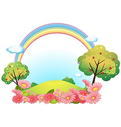 A hill with flowers and trees vector