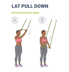 African american girl doing lat pulldown home vector