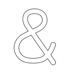 Ampersand black color path icon vector