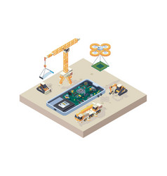 app construction crane truck computer micro vector image