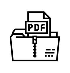 Archiving pdf file line icon vector