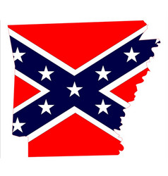Arkansas map and confederate flag vector