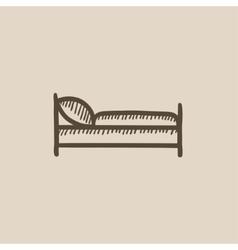 Bed sketch icon vector