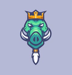 Boar king mascot logo design with modern vector