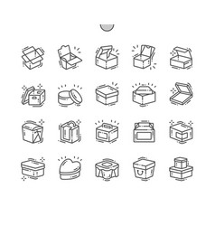 Box well-crafted pixel perfect thin line vector